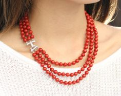 Luxurious Beaded Coral Necklace, Multistrand Red-Orange Coral Necklace, Genuine Coral Jewelry, Sterling Silver&CZ Clasp, 35 Anniversary Gift
