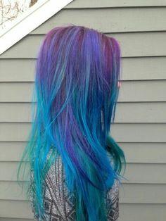 Blue green purple pink hair