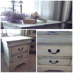 """Shabby chic bedside table by """"Lee.Marie Antiqued Furniture"""" on Facebook."""
