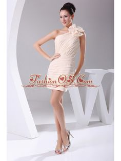 Hand Made Flower and Ruching Decorate Bodice Mini-length Champagne Chiffon Mini-length 2013 Prom Dress- $114.29