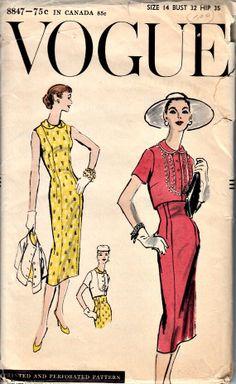 50s Sheath & Bolero Pattern  VOGUE 8847  1956 by ShellMakeYouFlip, $28.50