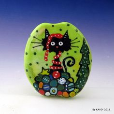 """THE INFERIOR DECORATOR"" byKAYO a Handmade FUN CAT Lampwork Glass Focal Bead SRA in Jewelry & Watches, Loose Beads, Lampwork 