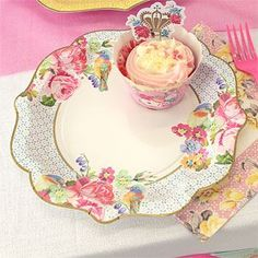 Truly Scrumptious Plates - 21cm Paper Party Plates 12pk Delight your guests with these divine designs Stunning floral and bird designs on 3