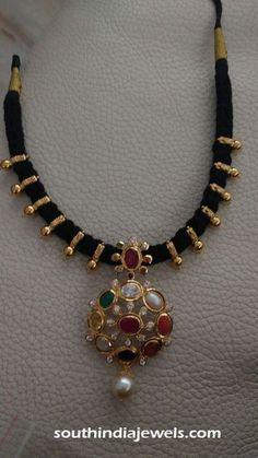Gold black thread short necklace with navarathan pendant