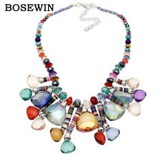 Women 's Bohemia New Chic Pendants Necklaces  Beaded Chain Geometric Crystal Gems Choker Handmade Statement Necklaces CE3877