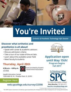 RSVP today & attend this info session at the #SPCollege Health Education Center. And find out about FREE O&P courses! #O&P #orthotics #prosthetics #health