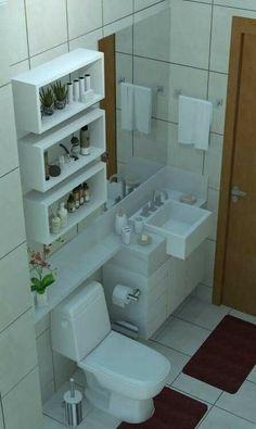Washroom Design, Modern Bathroom Design, Bathroom Interior Design, Small Bathroom Layout, Small Bathroom Storage, Toilette Design, Alcove, Bathtub, Bathroom Organization