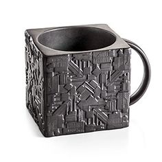 "The Star Trek Borg Cube Mug will remind you of ""home"" during your time with Species 5618, as well as provide you with any energy your human physiology may demand for its biological functions."