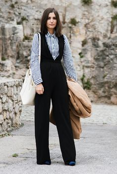 fall outfit, business casual outfit, work outfit, office outfit, fall work outfit, fall office outfit, office wear, 9 to 5 chic, street style, fashion week 2016, fall trends 2016 - blue velvet booties, black sleeveless jumpsuit, blue stripe shirt, white tote bag, camel coat