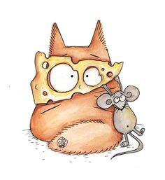 IN-CHEESE-NITO  - Original watercolor  - Cats with attitude - PookieCat by PookieCatsWorld on Etsy