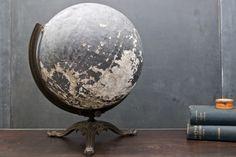 Bronze Victorian Teachers Black Globe : 20th Century Vintage Industrial Modern50 Style