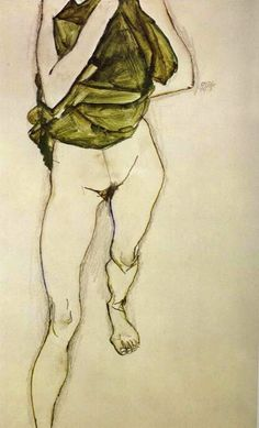 egon schiele - woman in green blouse