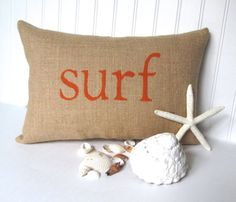 surf decor burlap beach pillow nautical decor by whimsysweetwhimsy