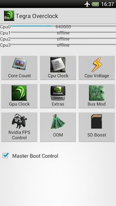 Tegra Overclock v1.5.8  Requirements: Android O/S : 3.0+/root  Overview: A single app to control your Tegra 3!