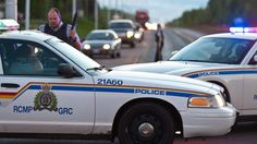 Royal Canadian Mounted Police officers use their vehicles to create a perimeter in Moncton, New Brunswick, June 4, 2014, following a shooting. Manhunt Underway for Suspect After 3 Officers Killed in Canada. Three police officers were shot dead and two others injured in a rare case of gun violence in the east coast Canadian province of New Brunswick, officials said. Authorities were searching for a suspect. #Canada #NewBrunswick #Moncton #shootings #Canadian #police