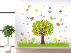 Wandsticker Set Baum Vögel Wiese Blumen