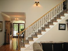 Wrought Iron Balusters - traditional - staircase - Charlotte - Sterling Construction, Inc. Iron Stair Spindles, Stairs Balusters, Wrought Iron Staircase, Iron Balusters, Banisters, Interior Railings, Interior Windows, Railing Design, Staircase Design