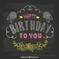 Hand drawn birthday card on blackboard Free Vector