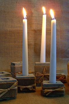 diy - rustic concrete candle holders