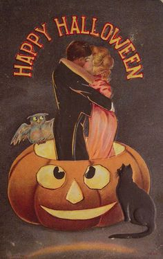 Vintage Halloween postcards - sooo many cute ones on this site! #halloween
