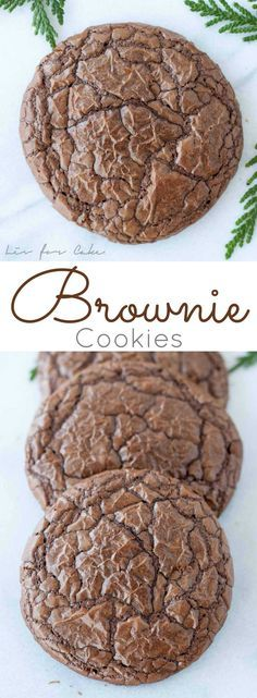 Cookies Recipe The best of both worlds! These brownie cookies are your favourite chewy, chocolatey brownies in cookie form!The best of both worlds! These brownie cookies are your favourite chewy, chocolatey brownies in cookie form! Cookie Desserts, Just Desserts, Cookie Recipes, Delicious Desserts, Dessert Recipes, Yummy Food, Cookie Table, Cookie Bars, Tea Cakes