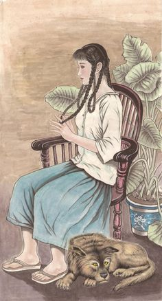 Braided Hair Original Chinese Portrait Painting by 1804Creation, $419.00
