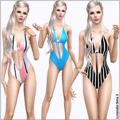 V-Shaped Monokini for your Sims 3 females. 2 recolorable areas, 3 color variations included in the same pack, custom cas and launcher thumbnails.