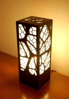 """Branch Lamp by Mark Foxworth.    Laser cut birch plywood; stained glass.  (5.5"""" x 5.5"""" x 14"""")"""