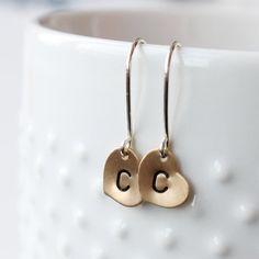 Love, love these sweet little earrings. Tiny Heart Earrings Initial Earrings Personalized by VivaRevival