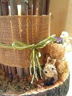 Woodland baby shower centerpieces I made for sister in laws shower by Julie Baker-Lowden