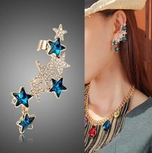 European Fashion Club Jewelry Personality Metal Punk Crystal Star Earrings Clip Women Gold Ear Cuff For Left Ear(China (Mainland))