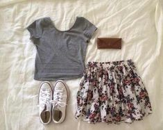 crop top, fashion, flannel, floral print, flowers, skirt, tumblr ...