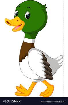 Duck cartoon vector image on VectorStock Art Drawings For Kids, Bird Drawings, Cartoon Drawings, Animal Drawings, Easy Drawings, Cartoon Art, Duck Cartoon, Cartoon Birds, Cute Images