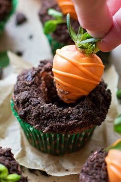 "These cute little carrot patch cupcakes are perfect for spring! They've got a chocolate base & buttercream, cookie ""dirt"" and a strawberry ""carrot"" on top."