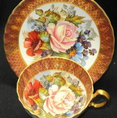 Aynsley Beautacious French-Scaled Signed  Tea cup and saucer