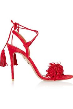 Aquazzura - Wild Thing Fringed Suede Sandals - Red - IT37.5