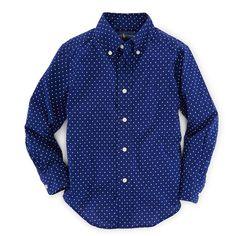 Ralph Lauren Childrenswear Long-Sleeve Polka-Dot Poplin Shirt ($55) ❤ liked on Polyvore featuring dot