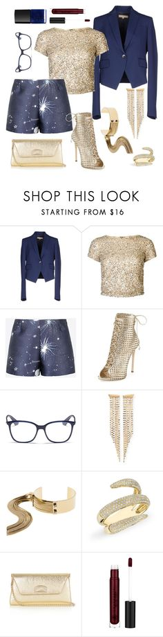 """Caged, gold and galaxy"" by pale-readhead ❤ liked on Polyvore featuring Michael Kors, Alice + Olivia, Valentino, Giuseppe Zanotti, Ray-Ban, Lana, May Moma, Anne Sisteron, Christian Louboutin and Anastasia Beverly Hills"