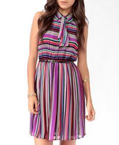 Retro Stripes Dress w/ Belt