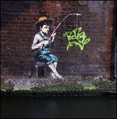 Banksy Fishing Boy, Regents Canal, Camden, London