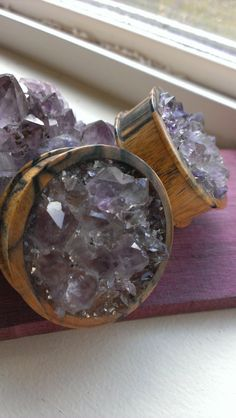 Black and white amethyst crystal plugs by lucidtreedesign on Etsy