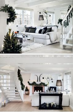 To die for, white heaven Winter Wonderland Christmas, Christmas Home, White Christmas, White Heaven, Living Room Decor, Living Spaces, Black And White Interior, Christmas Blessings, Classic House