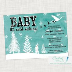 Baby Shower Invitation, Baby It's Cold Outside, Winter Baby Shower, Trees, Snow