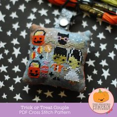 Trick or Treat Couple PDF Cross Stitch Pattern / The Frosted Pumpkin Stitchery