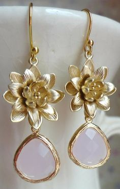 Pink Lotus Blossom Glass Dangle Earrings from Designs by Jocelyn. Via Diamonds in the Library.
