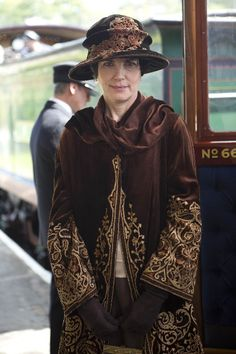 Cora, the Countess Grantham, in a lovely embroidered coat ~
