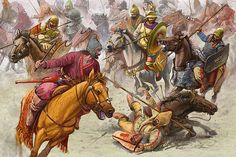 The Battle of the River Thatis, 309 BC, fought between two Scythian rivals. This is the only recorded account of an actual Scythian open battle. - art by Radu Oltean