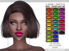 The Sims Resource: Lustre Lipstick - Bold Bow by Y-Sim • Sims 4 Downloads