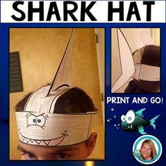Shark Hat Headband for Ocean Plays or Celebrations by Teacher's Brain - Cindy Martin Shark Hat, Baby Shark, Diy Headband, Knitted Headband, Shark Activities, Sea Animal Crafts, Zoo Preschool, Animal Hats, Diy Hat
