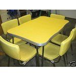 1950's Yellow Formica and Chrome Kitchen Table Set.